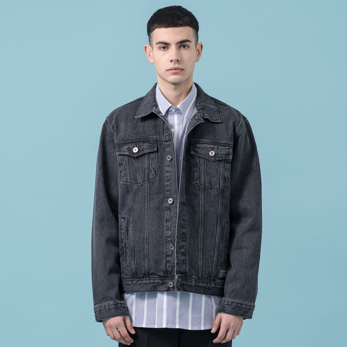 WASHED DENIM TRUCKER JACKET(BK)