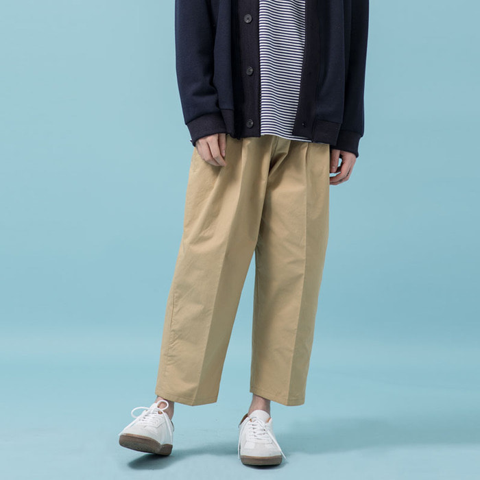 TWO TUCK WIDE COTTON PANTS(BG)