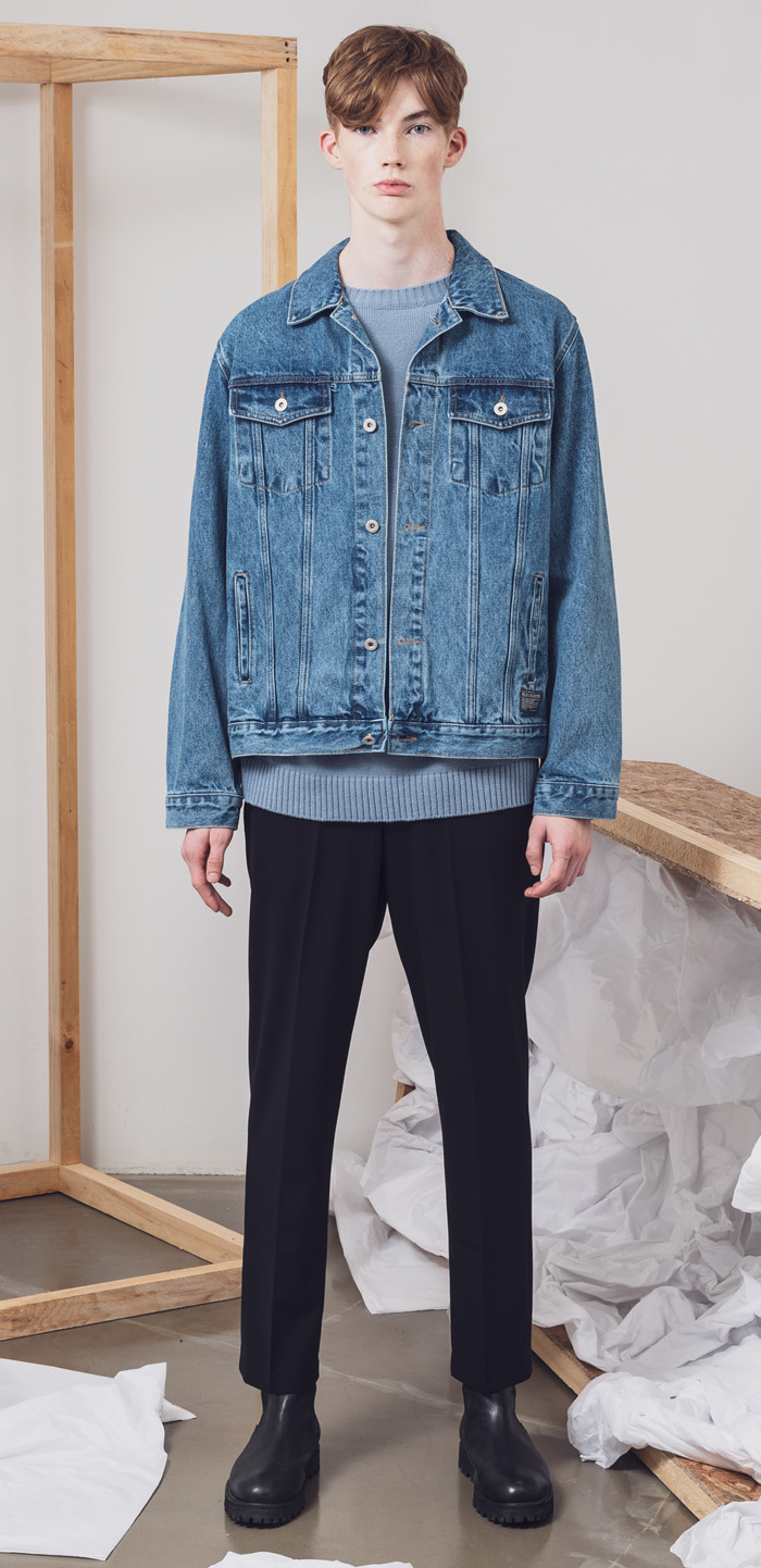 WASHED DENIM TRUCKER JACKET(BL)