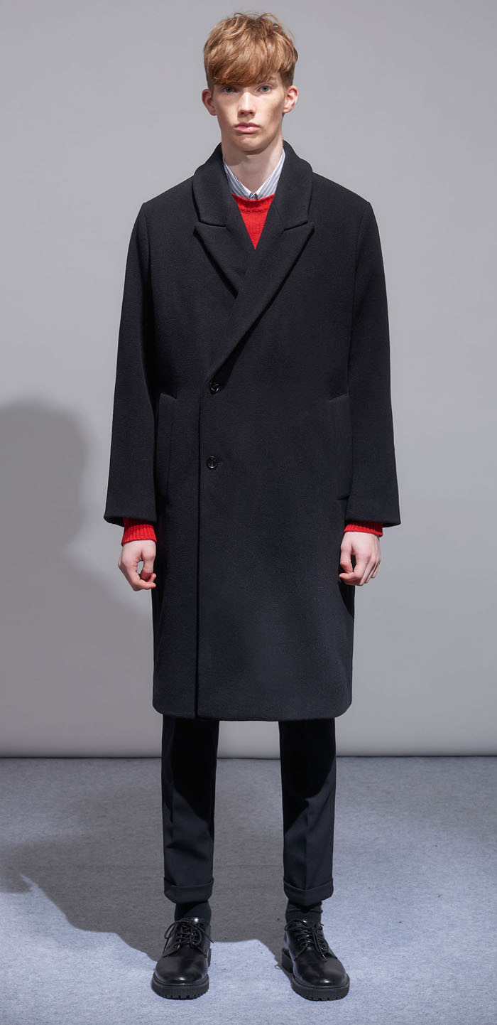 PEAKED WOOL COAT(BK)