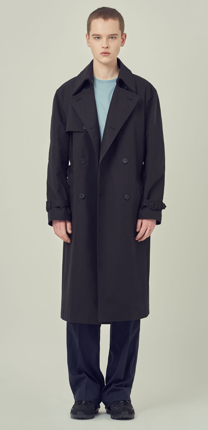 DOUBLE COLLAR TRENCH COAT(BK)