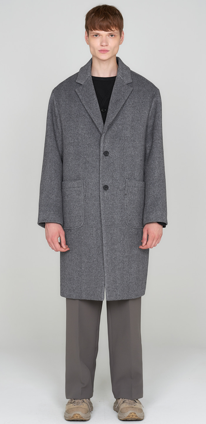 SOLID WOOL OVER COAT(HERRINGBONE)