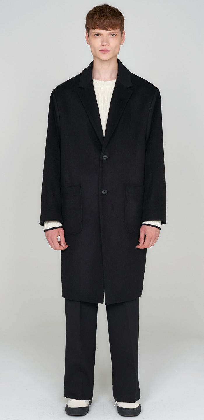 SOLID WOOL OVER COAT(BK)