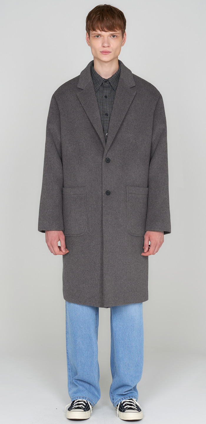 SOLID WOOL OVER COAT(GY)