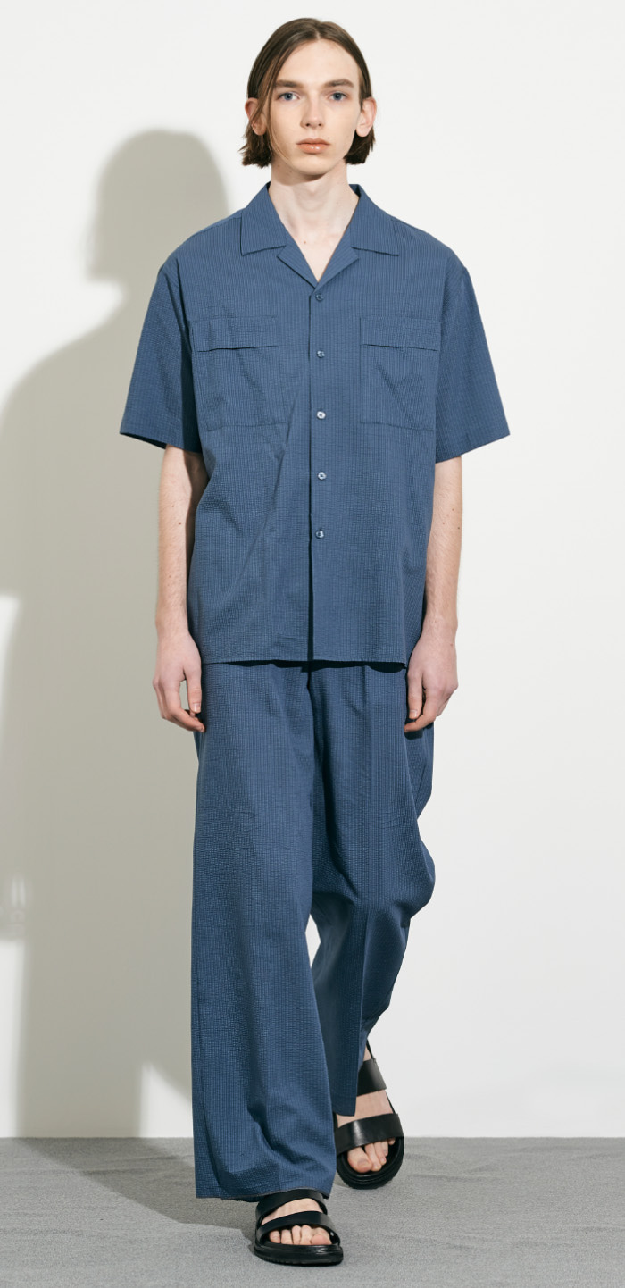SEERSUCKER WIDE PANTS(BL)